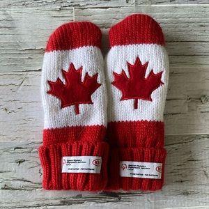 Fleece lined maple leaf mittens